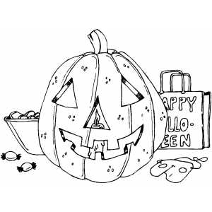Pumpkin With Candies coloring page