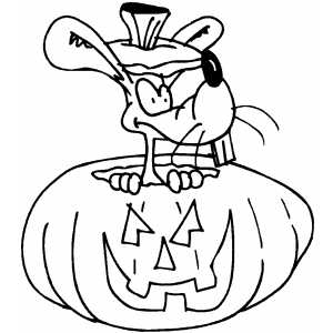 Pumpkin With Mouse Inside coloring page