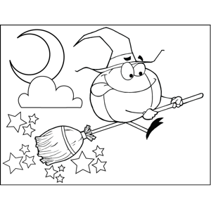 Pumpkin on a Broom coloring page