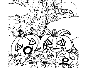 Pumpkins on Tree coloring page