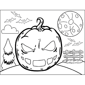 Scowling Jack-o-Lantern coloring page