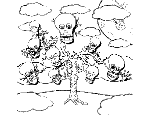 Skull Tree coloring page