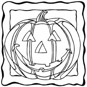 Smiling Pumpkin In Frame coloring page