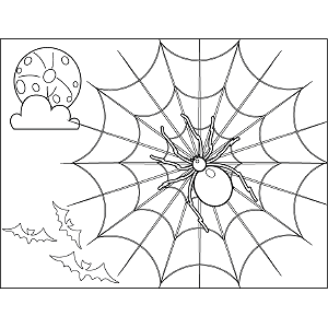 Spooky Spider Web coloring page