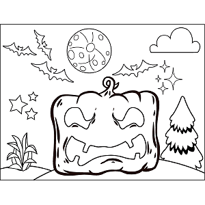 Square Pumpkin coloring page