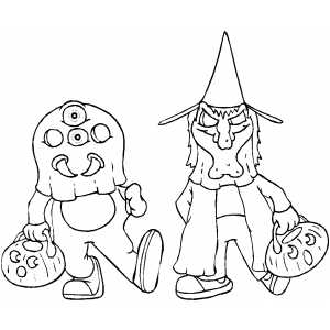 Trick Or Treating coloring page