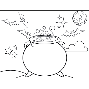 Witch Cauldron coloring page