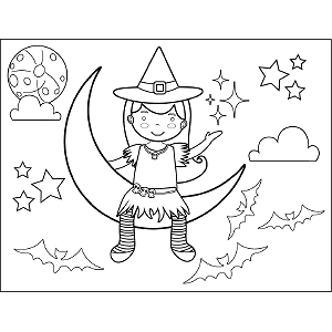 Witch Sitting on Moon coloring page