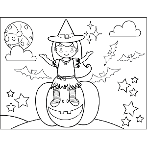 Witch Sitting on Pumpkin coloring page