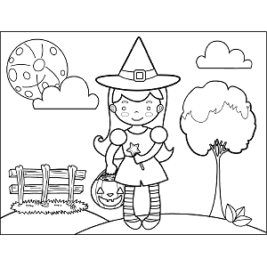 Witch Trick-or-Treating coloring page