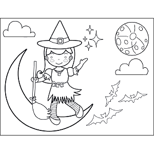 Witch and Broom on Moon coloring page