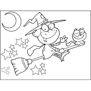 Witch and Cat on Broomstick coloring page