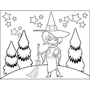 Witch with Hat Broom coloring page
