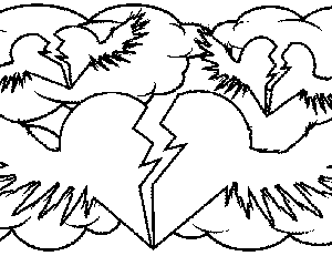 Broken Hearts with Wings Coloring Page