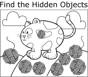 Cat with Yarn coloring page
