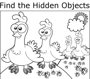 Chickens and Ladybugs coloring page