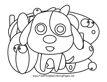 Dog Hidden Animal coloring page