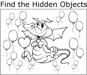 Dragon and Balloons coloring page