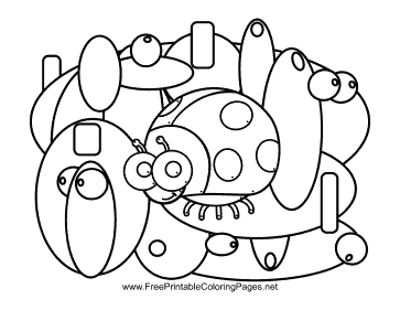Ladybug Hidden Animal coloring page