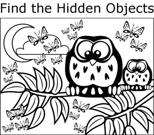 Owl and butterflies coloring page for Coloring pages for adults with hidden objects