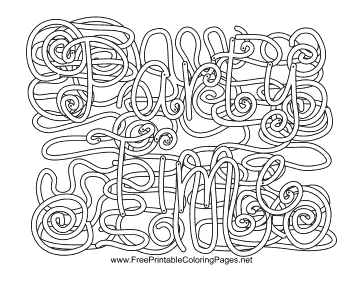 Party Hidden Word coloring page