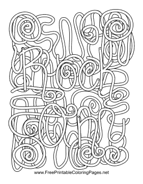 Rock N Roll Hidden Word Coloring Page