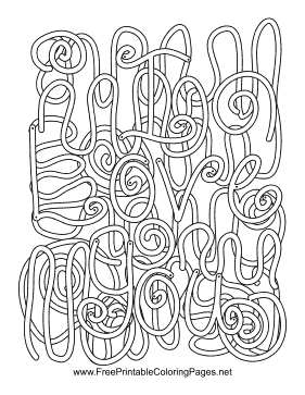 Valentine Hidden Word coloring page