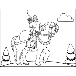 Archer Riding Steed coloring page
