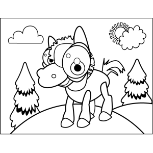 Cute Excited Horse coloring page