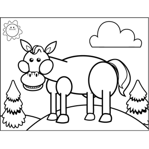 Excited Horse coloring page