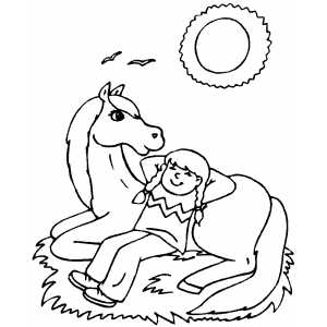 Girl Sleeping On Horse coloring page