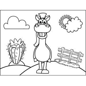 Grinning Horse coloring page