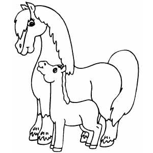 horse and foal coloring page - Coloring Pages Horses Foals
