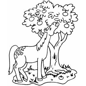 Horse Eating Apples coloring page