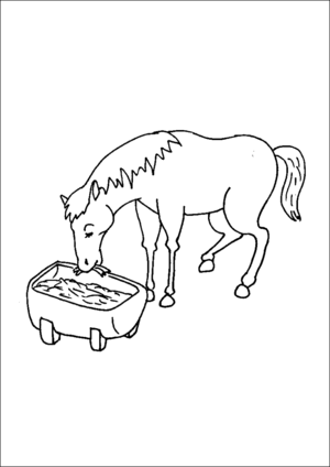 Horse Eating Hay coloring page