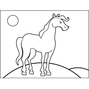Horse on Hill coloring page