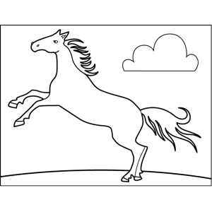 Horse with Cloud coloring page