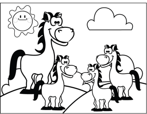 Horse with Foals coloring page
