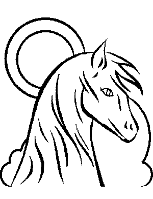 Horse with Moon and Clouds Coloring Page
