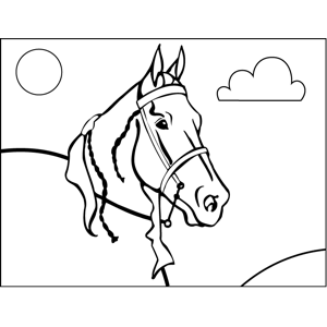 Horse with Reins coloring page