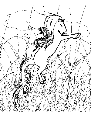 Pony in Tall Grass Coloring Page