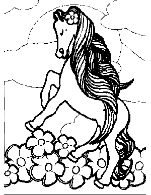 Pony with Flowers Coloring Page