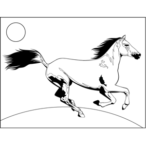 Realistic Running Horse coloring page