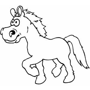 Running Horse Kid Coloring Page