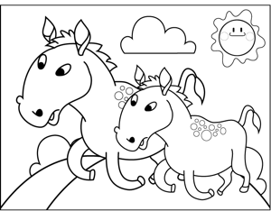 Running Horses coloring page