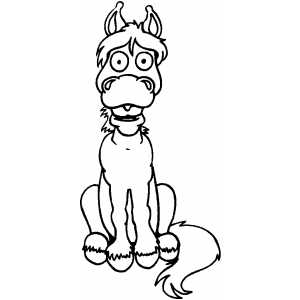 Shocked Horse coloring page