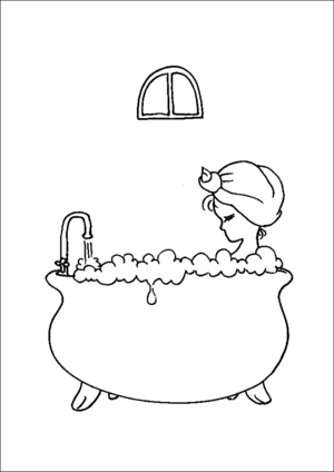 Bubble Bath In Old Tub Coloring Page