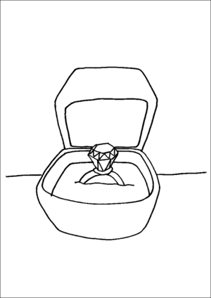 Diamond Ring In Box coloring page