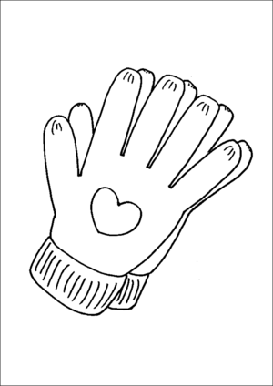 Gloves With Hearts coloring page