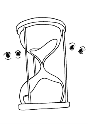 Hourglass With Eyes Watching coloring page